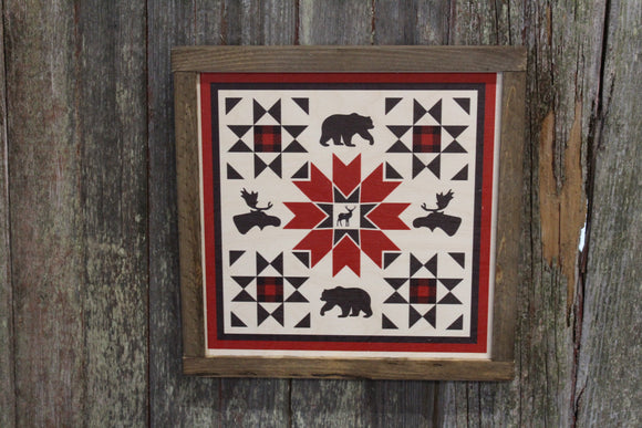 Buffalo Plaid Red Bear Deer Moose Barn Quilt Wood Sign Square Pattern Block Wall Art Farmhouse Primitive Rustic Black Animals Cabin Decor