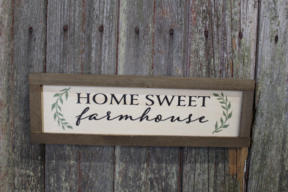 Home Sweet Farmhouse Sign Wood Printed Country Rustic Primitive Wall Art Picture Text Script Small Gray Brown Rectangle Love Farm House