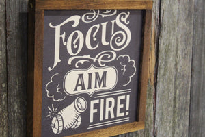 Focus Aim Fire Bathroom Wood Sign Canon Half Bath Wall Art Wall Hanging Farmhouse Rustic Shiplap Funny Humor Retro Scroll Clean Wash