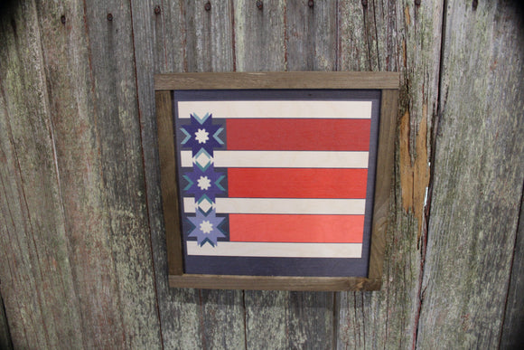 Patriotic Barn Quilt Wood Sign Red White Blue Stripe Stars Country Brown Framed Print Wall Art Farmhouse Primitive Rustic
