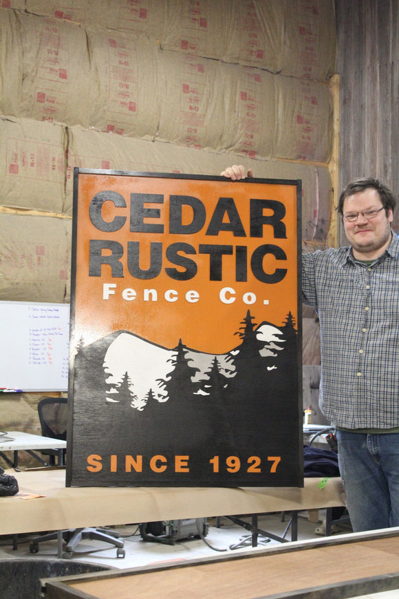 Raised Text Business Sign 3D Fence Company Large Custom Sign Black Extra Large Detail We Use Your Actual Graphic Business Logo Wood