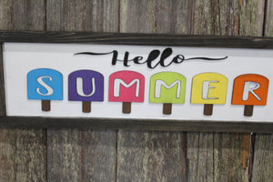 Hello Summer Wood Sign 3D Raised Text Image Bright Popsicles Ice Pops Ice Cream Fun Farmhouse Handmade Sign Rustic Primitive