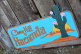 Hacienda Raised Sign 3D Wood Cactus Western Sunset Custom Shape Large Laser Cut Wood Rustic Primitive Home House Address Sign