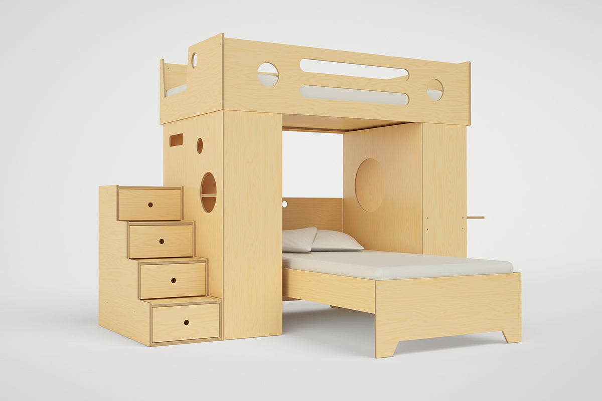 Dumbo T Shaped Loft Bunk Bed With Stairs Storage