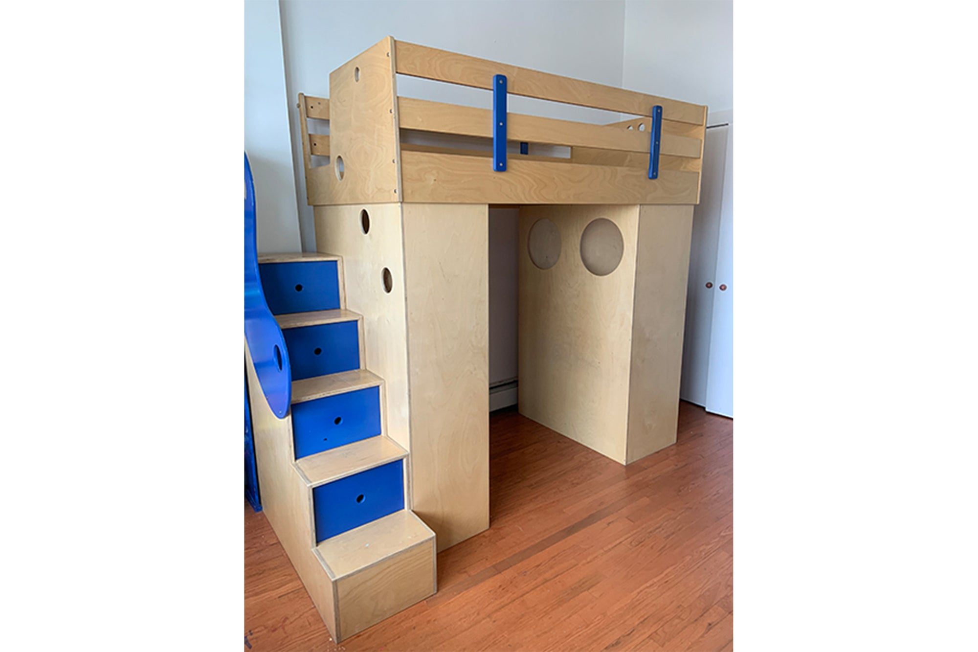 Custom Loft Bed w/ Blue Accents
