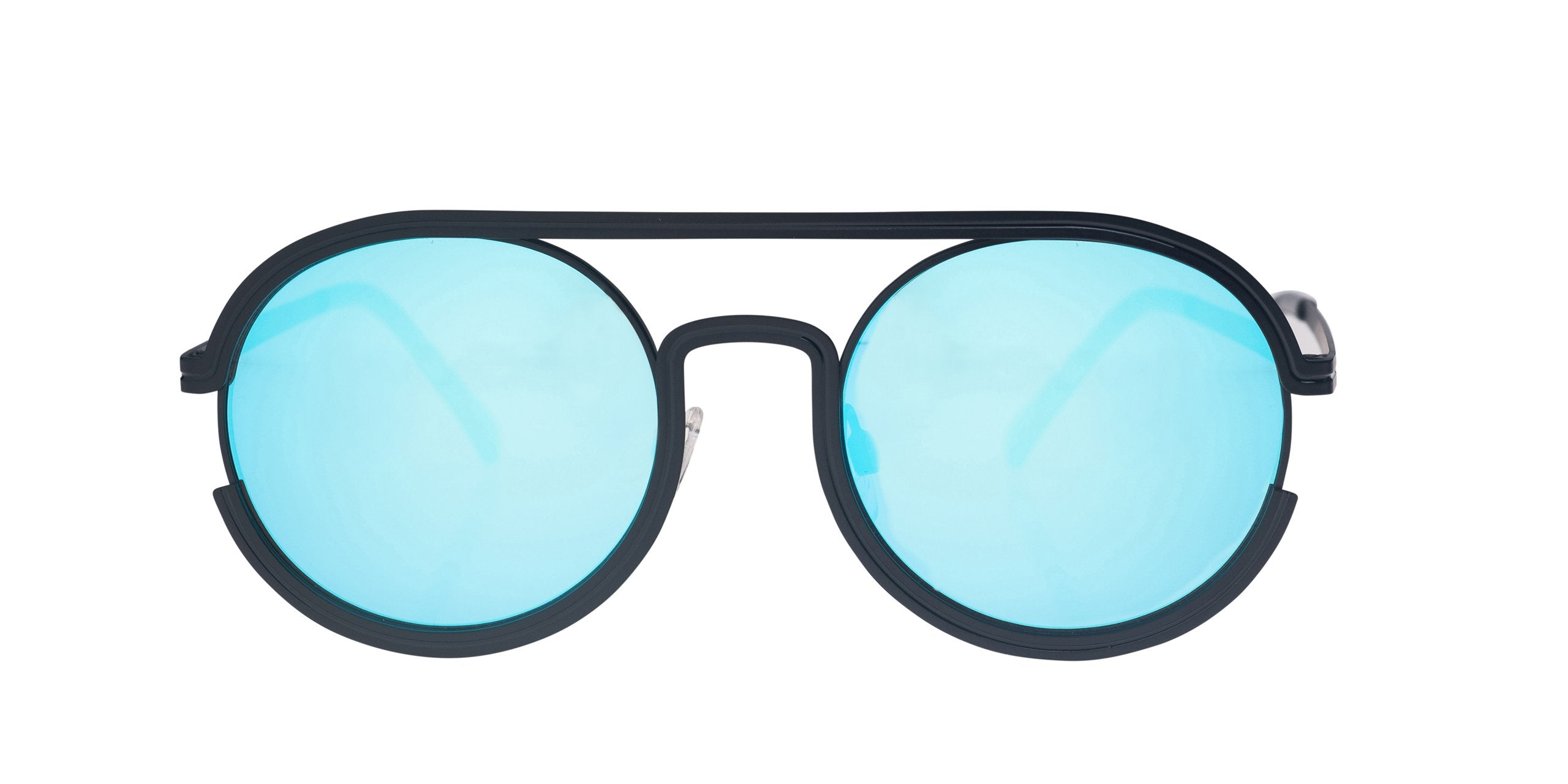 FRAME Matt Black LENS Blue Mirror