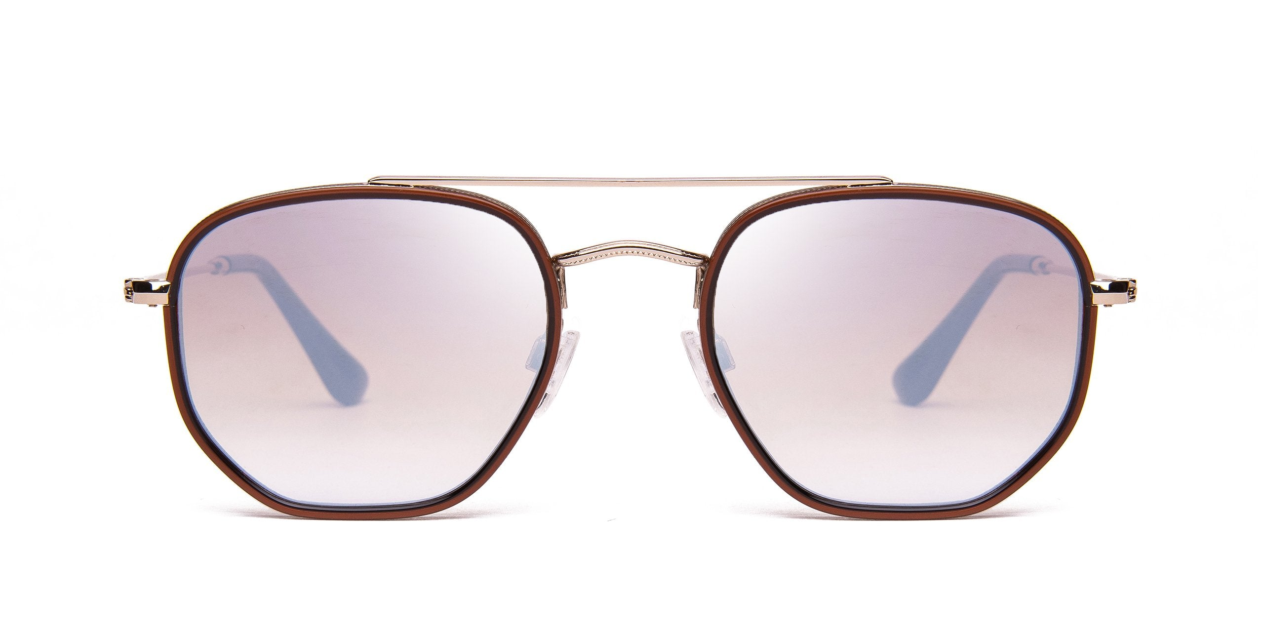 FRAME Transparent Brown LENS Gradient Brown White Mirror
