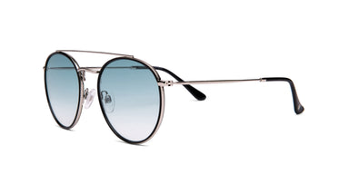 FRAME Black and Silver LENS Gradient Teal to Nude