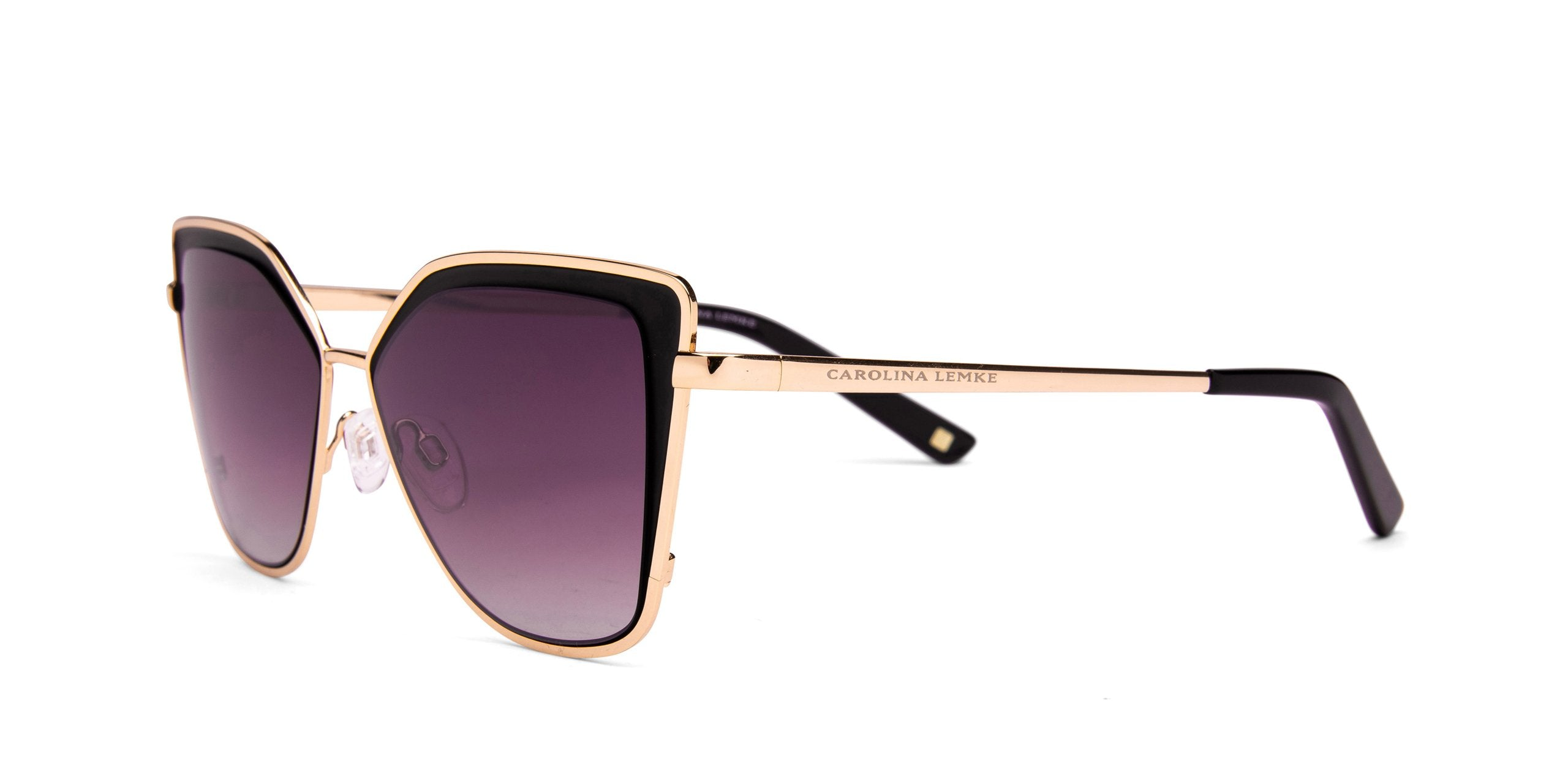 FRAME Matt Black Gold LENS Gradient Smoke