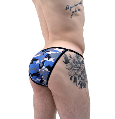 Blue Camo String Brief Bikini Underwear