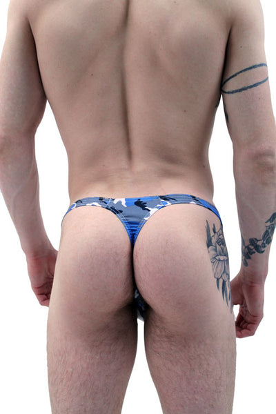 Blue Camo Thong Men's Underwear