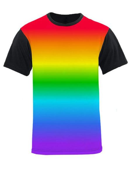 Horizontal Gay Pride Gradient Rainbow Black Back and Sleeve T-Shirt
