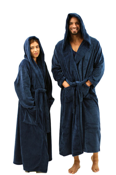 Plush Hooded Robe for Men