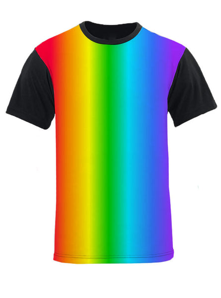 Vertical Gay Pride Gradient Rainbow Black Back and Sleeve T-Shirt by NDS Wear