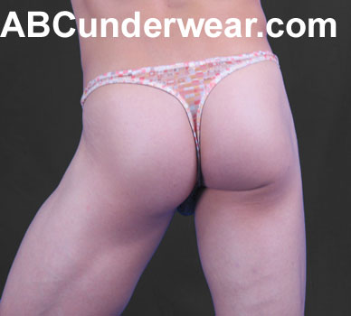 Sheer Retro Cubes Men's Thong