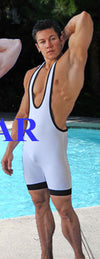 White Wrestler Body Suit Color-Bleed- Discontinued