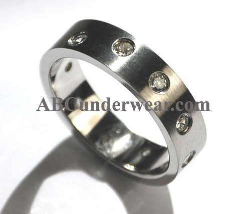 Stainless Steel Cubic Zirconia Stone Ring