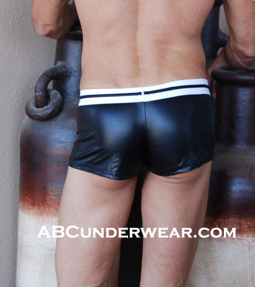 Sexy Men's Pleather Low Rise Shorts