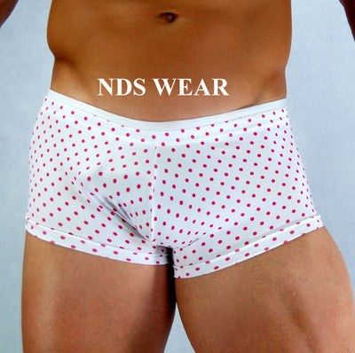Men's Trunk White With Pink Dots