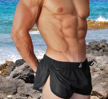 Retro Mesh Side Split Short, Sexy Men's Shorts