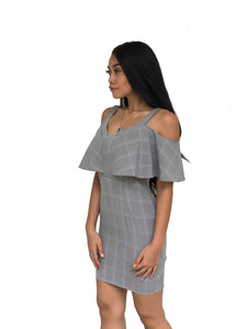 Flutter-Sleeve Cold Shoulder Dress