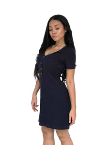 Buttoned Basic Knitted Dress