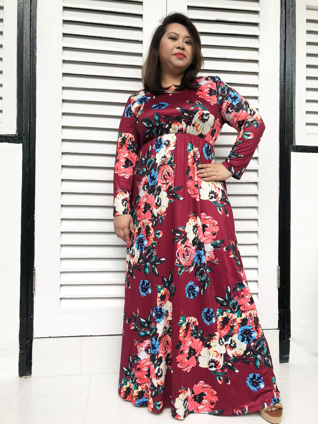 Long-Sleeved Floral Maxi (Ruby)