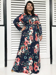 Long-Sleeved Floral Maxi (Blue)