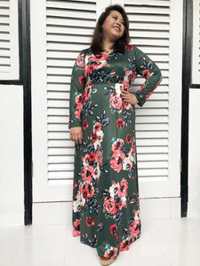 Long-Sleeved Floral Maxi (Moss Green)