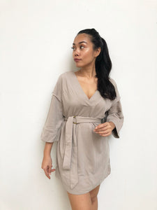 Mid-sleeved Casual Dress W/ Belt