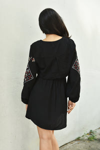 Embroidered Drawstring Waist Dress