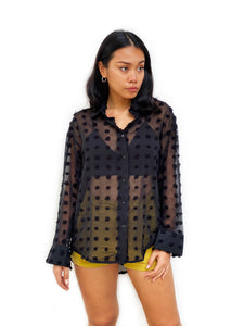 Textured Polka-Dot Chiffon Shirt [BACKORDER]