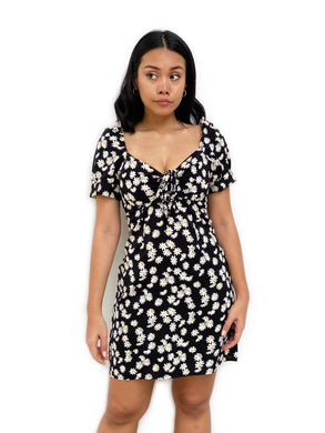 Ruched-Front Daisy Shift Dress