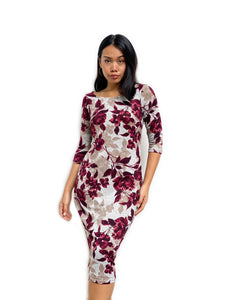 Knitted Floral Printed Midi