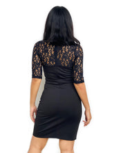 Lace-Sleeved Bodycon Dress