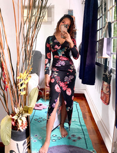 Floral Bodycon Slit Max-Midi (Long Sleeves)