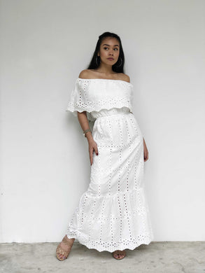 Eyelet Lace Off-Shoulder Maxi Dress