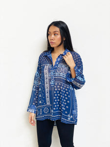 Oversized-Shoulder Patchwork Top