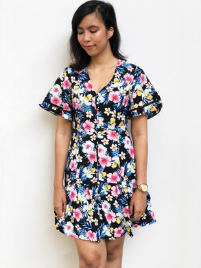 Flutter-Sleeve Floral Dress