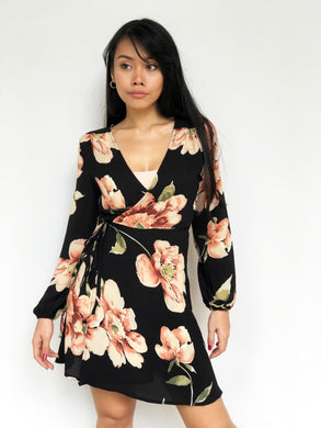 Summer Floral Print Wrap Dress
