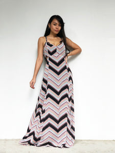 Geometric Print Side-Cutout Maxi