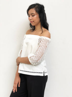 Crochet Sleeved Off Shoulder Blouse