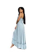 Pleated Hem Halter Maxi
