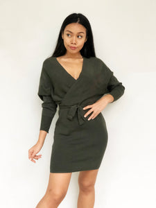 Basic Knitted V-Neck Waist-Tie Dress [BACKORDER]