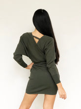 Basic Knitted V-Neck Waist-Tie Dress