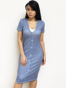 V-Neck Buttoned Midi Dress