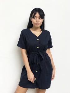 Buttoned Waist-Tie Linen Dress