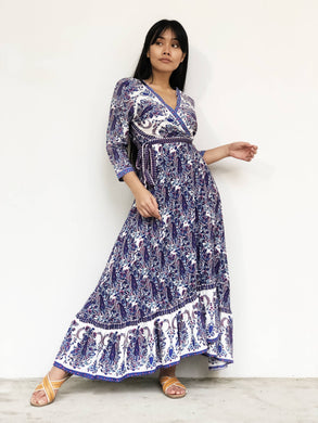Retro-Printed Maxi Wrap Dress [BACKORDER]