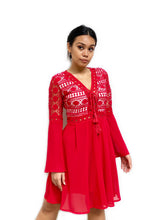 Lace-up Crochet Panelled Dress