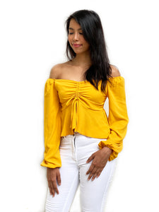 Ruched Front Bardot Top
